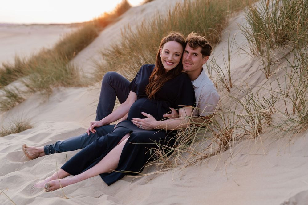 Couple maternity portrait at Camber Sands beach