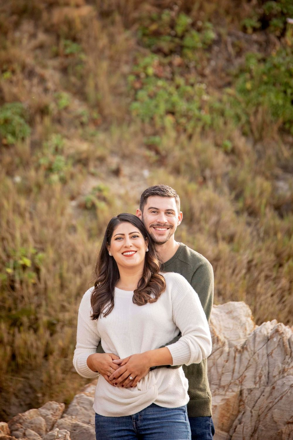 Couple at Moonstone Beach posing for a picture
