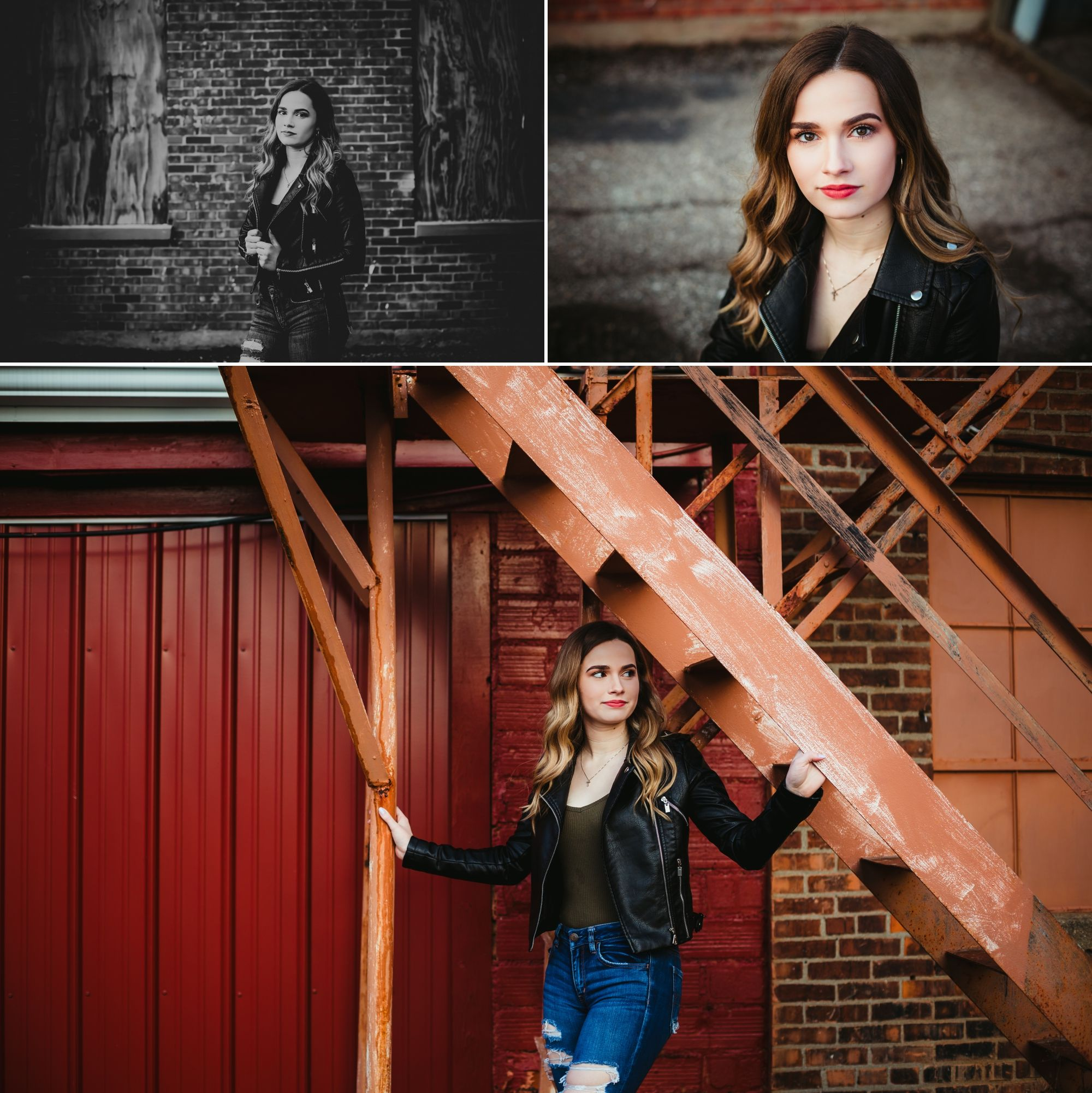 Photos of a high school senior girl in a black leather jacket posing downtown.