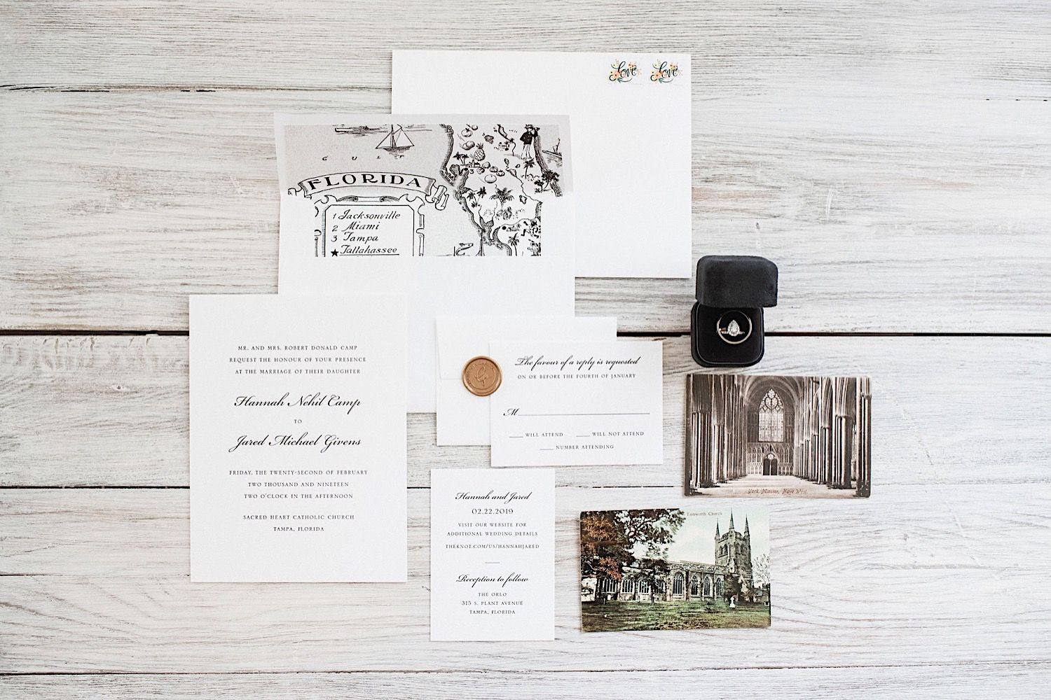 Layout of wedding invitation and stationary for The Orlo in Tampa, FL