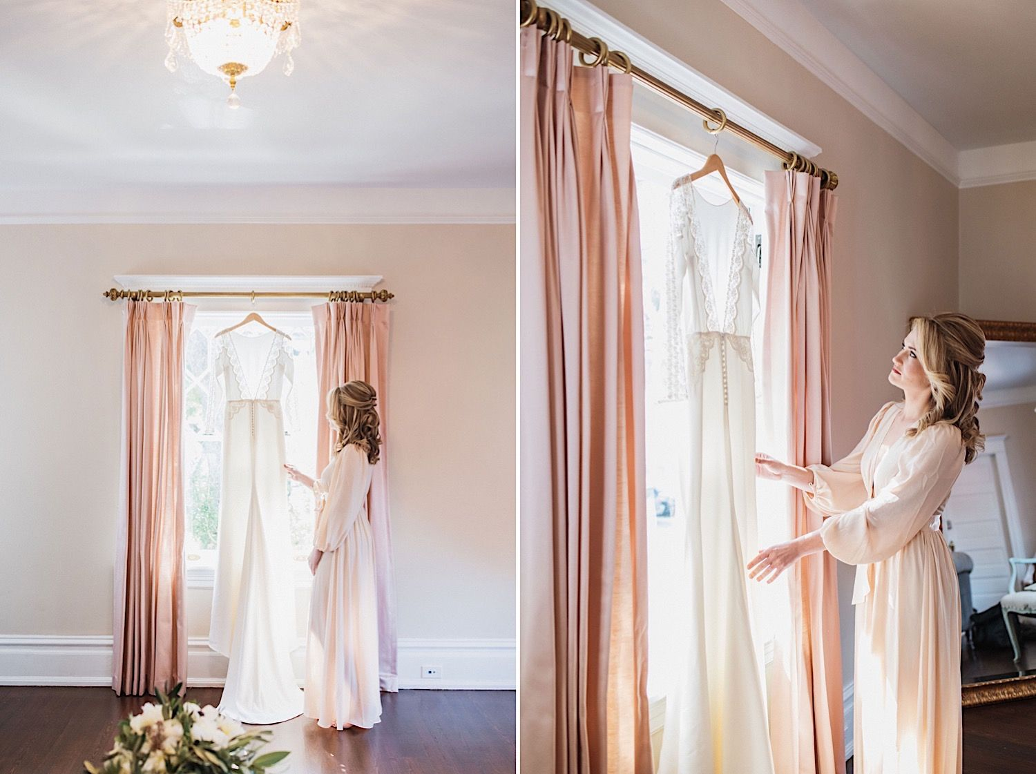 Bride in a silk robe looking at her wedding dress