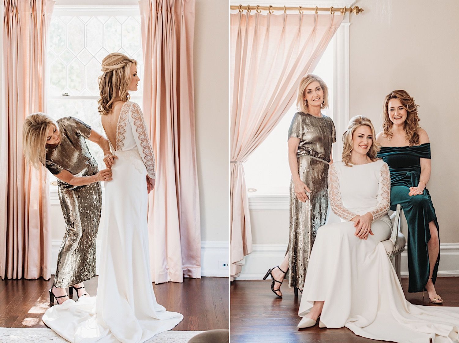 a mother buttoning a bride's BHLDN wedding dress
