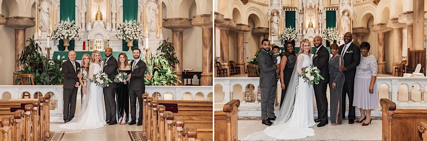Family portrait at a wedding at Sacred Heart Church in Tampa