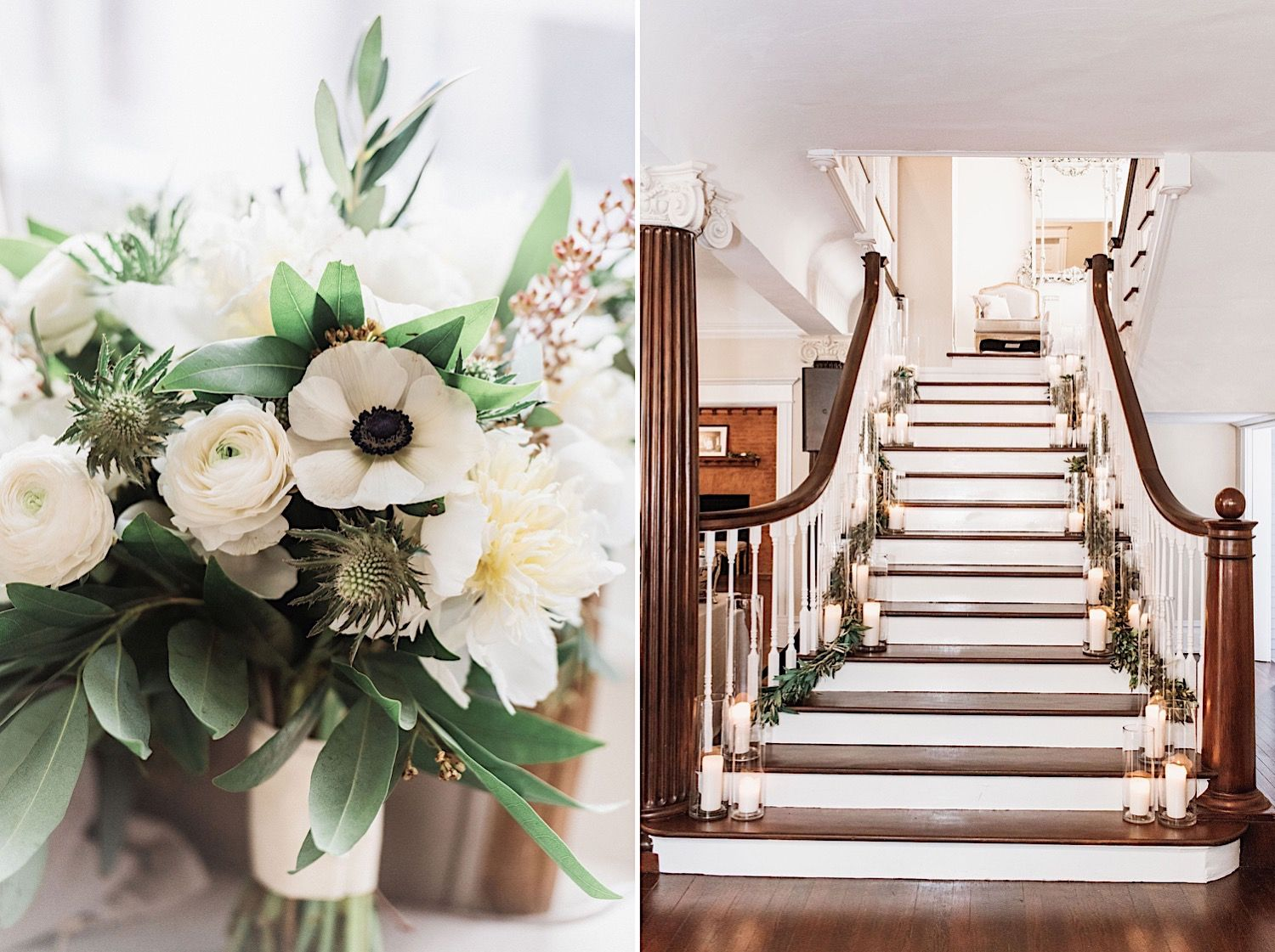 bridal bouquet and stairway lined with candles and greenery at the Orlo in tampa