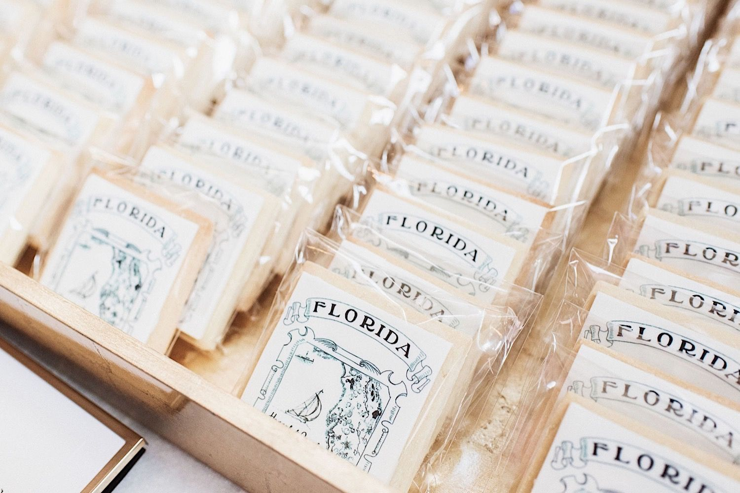 custom wedding cookies decorated with a Florida design