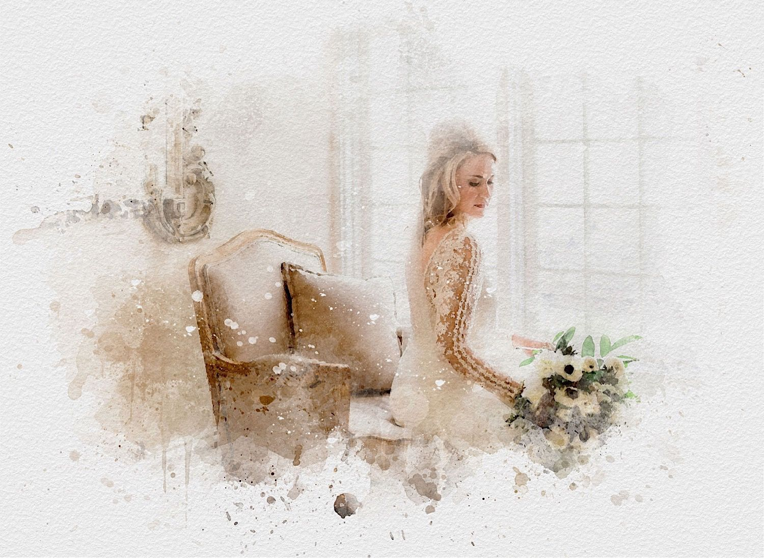 watercolor art of a bride sitting near the window