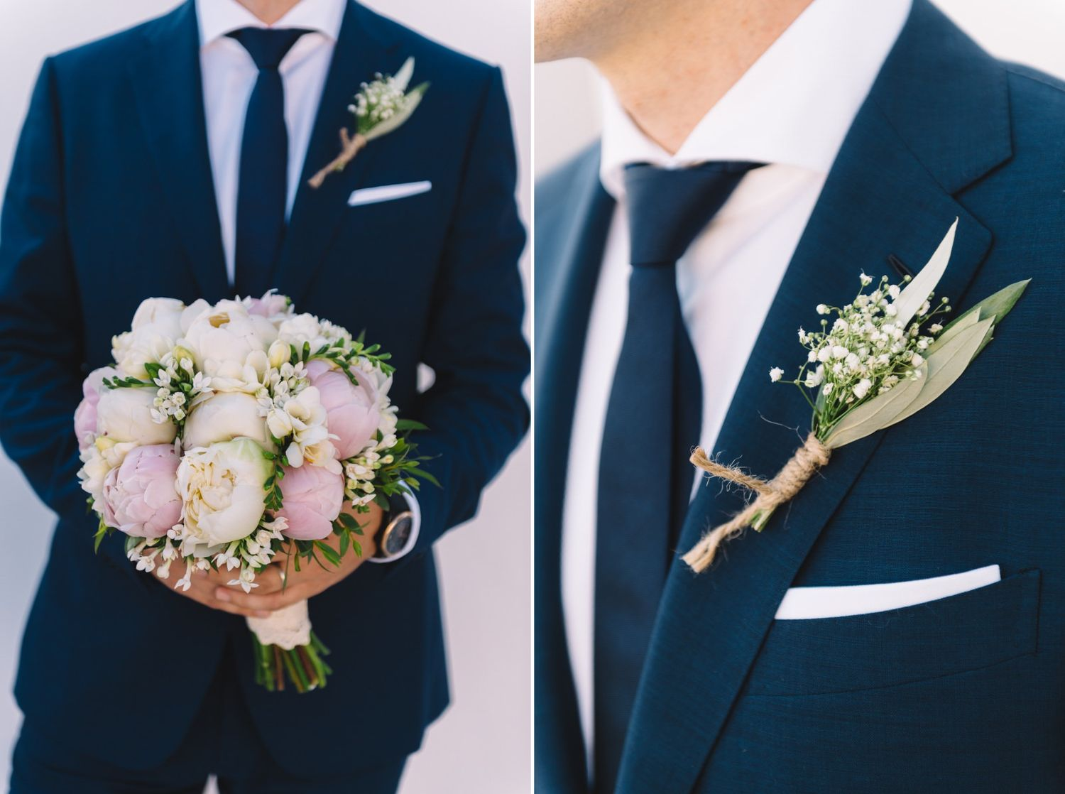 grooms details and wedding flowers