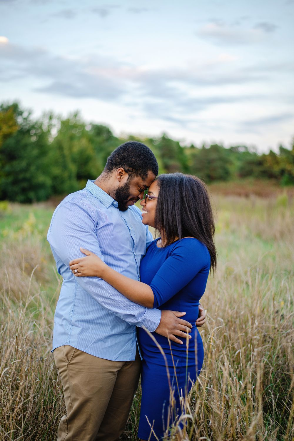 Ottawa Couples Photography - Couple touching foreheads in tall grass