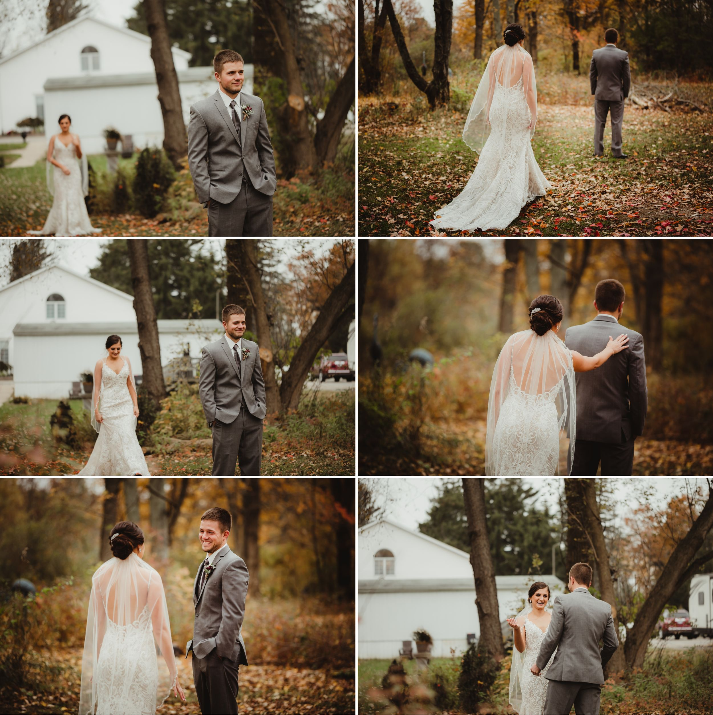 First look between the bride and groom. They are outside near trees with fall colored foliage on the ground.