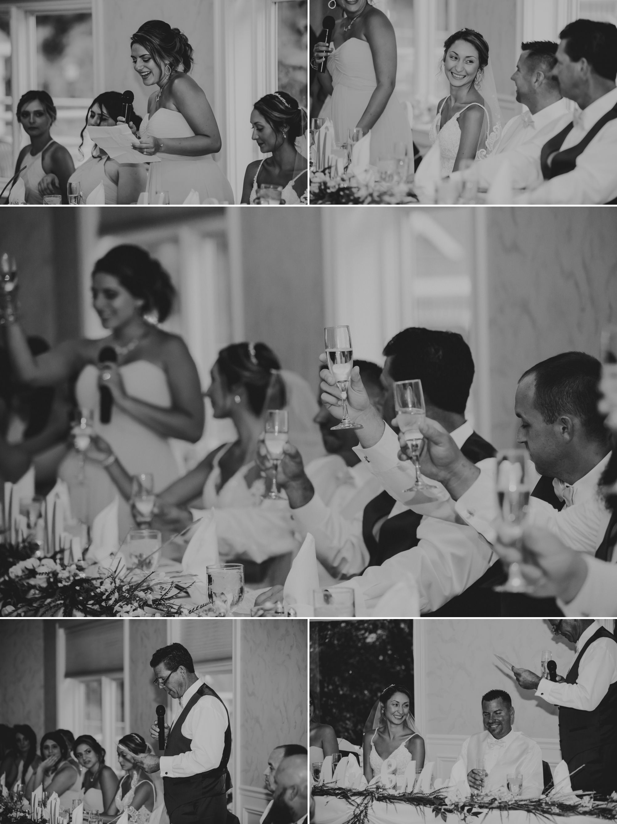 Black and white photo collage of the toasts being given at the wedding reception.