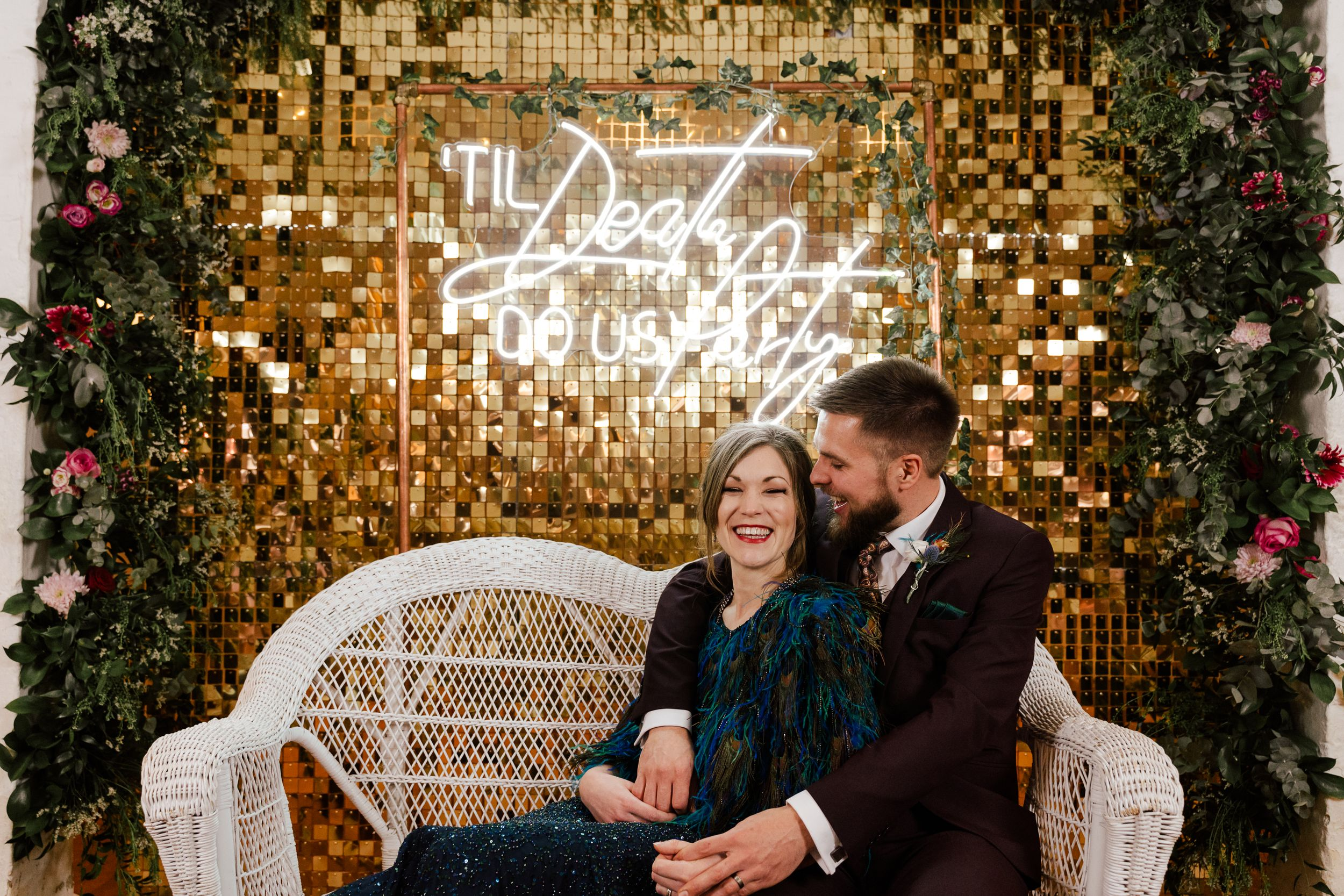 neon light up sign at a winter wedding.