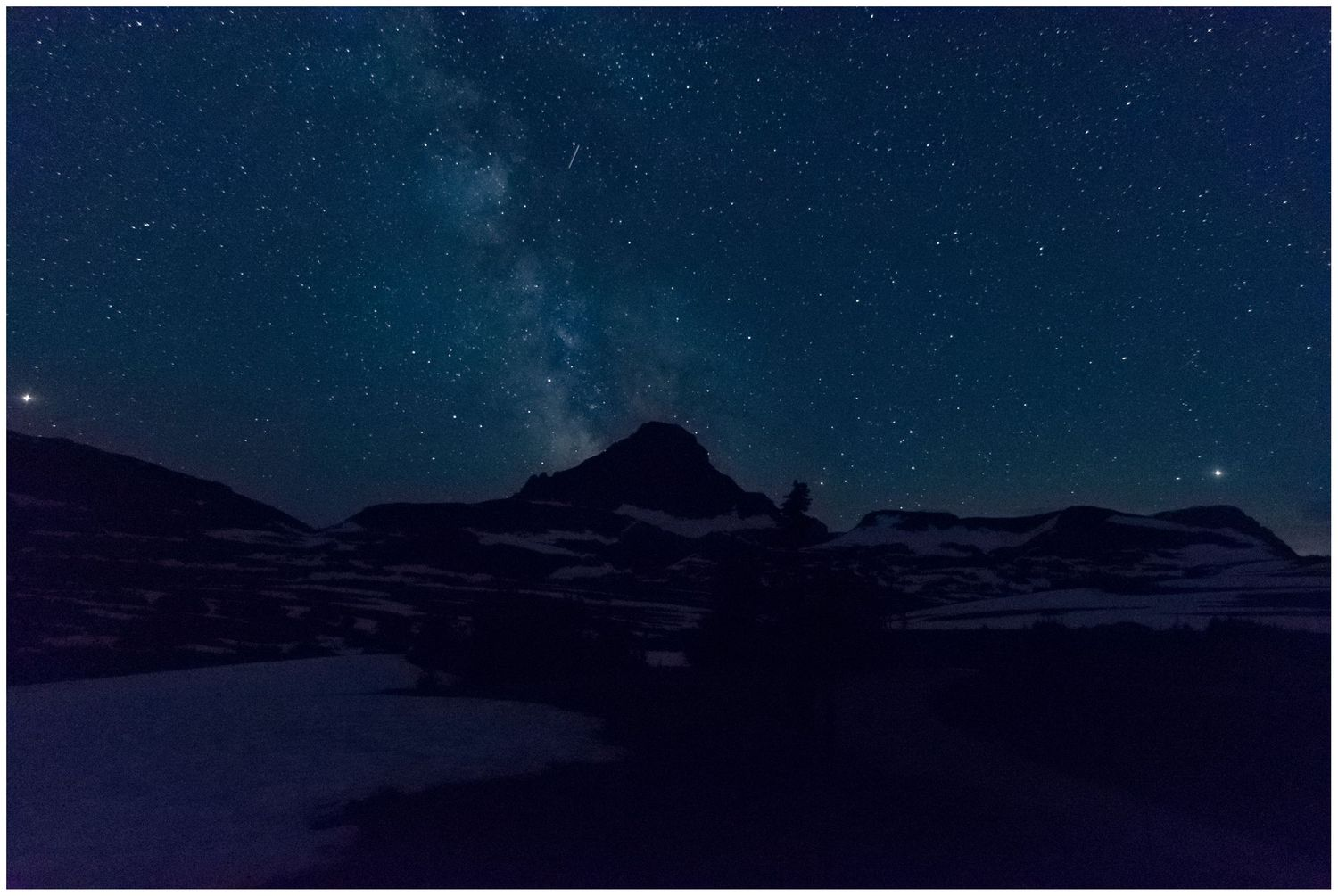 astrophotography, Milky Way from Logan pass in glacier national park