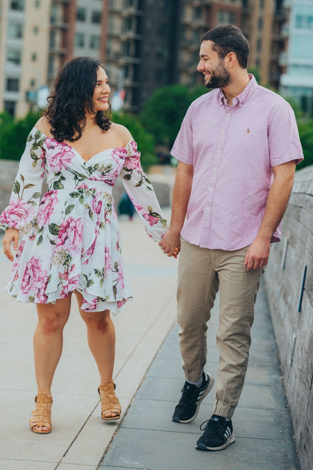 Jessica & Aldo Austin Engagement at Pfluger Pedestrian Bridge walking