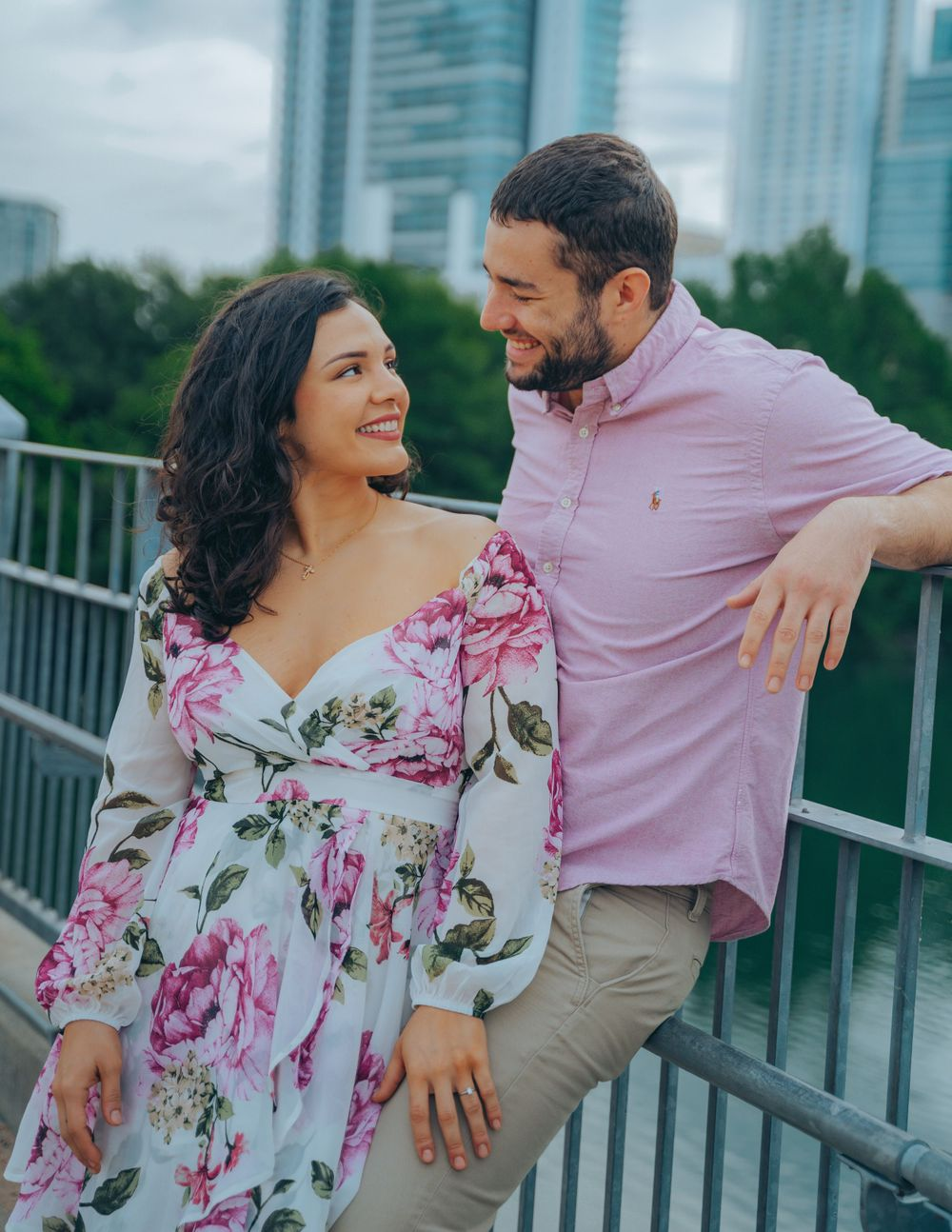 Jessica & Aldo Austin Engagement at Pfluger Pedestrian Bridge romantic gaze
