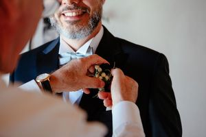 groom getting ready at Italian wedding