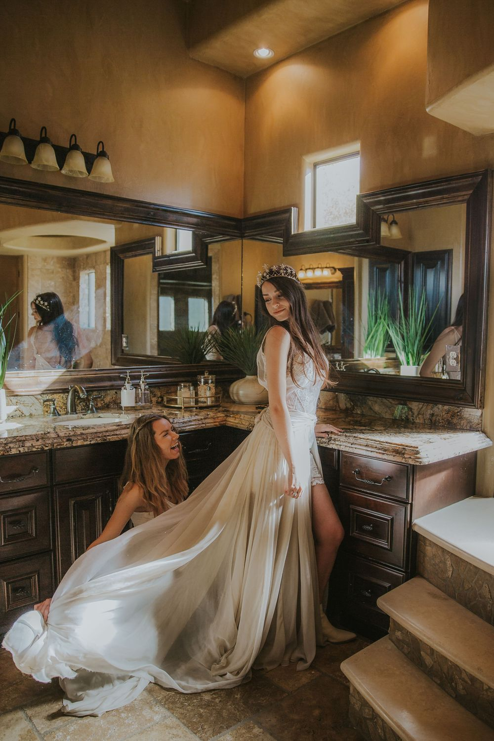 rebecca skidgel photography mesa arizona wedding bride getting ready with maid of honor bridesmaid