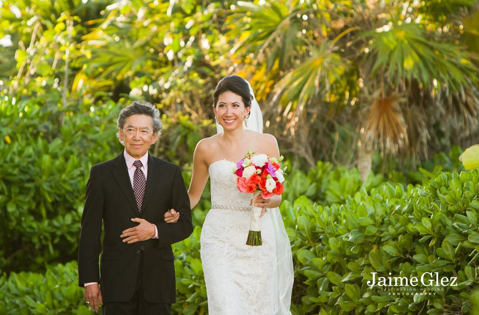 bride and her father smiling at the Fairmont Mayakoba