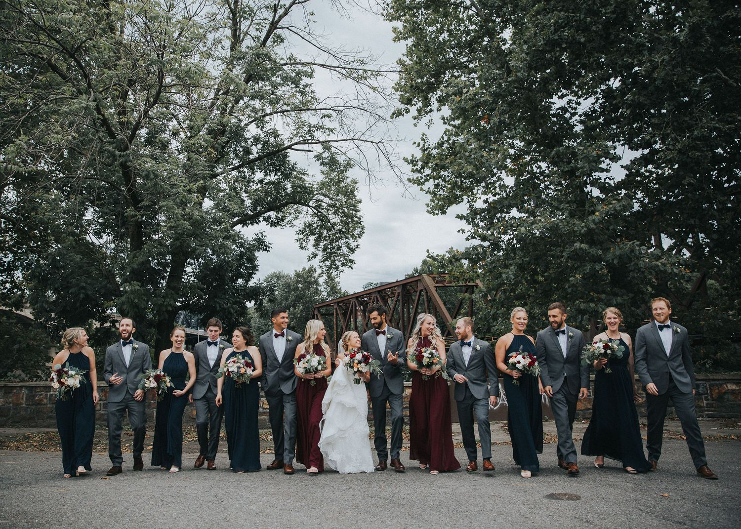 Full bridal party in downtown Bethlehem, PA