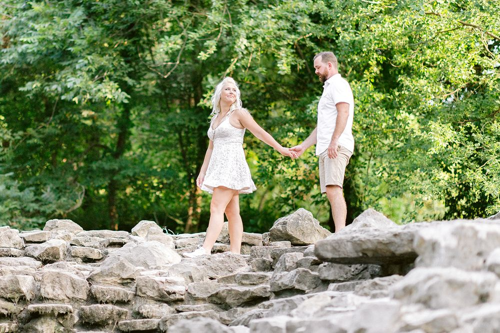 Elizabeth Couch Photography Prairie creek engagement photos waterfall greenery