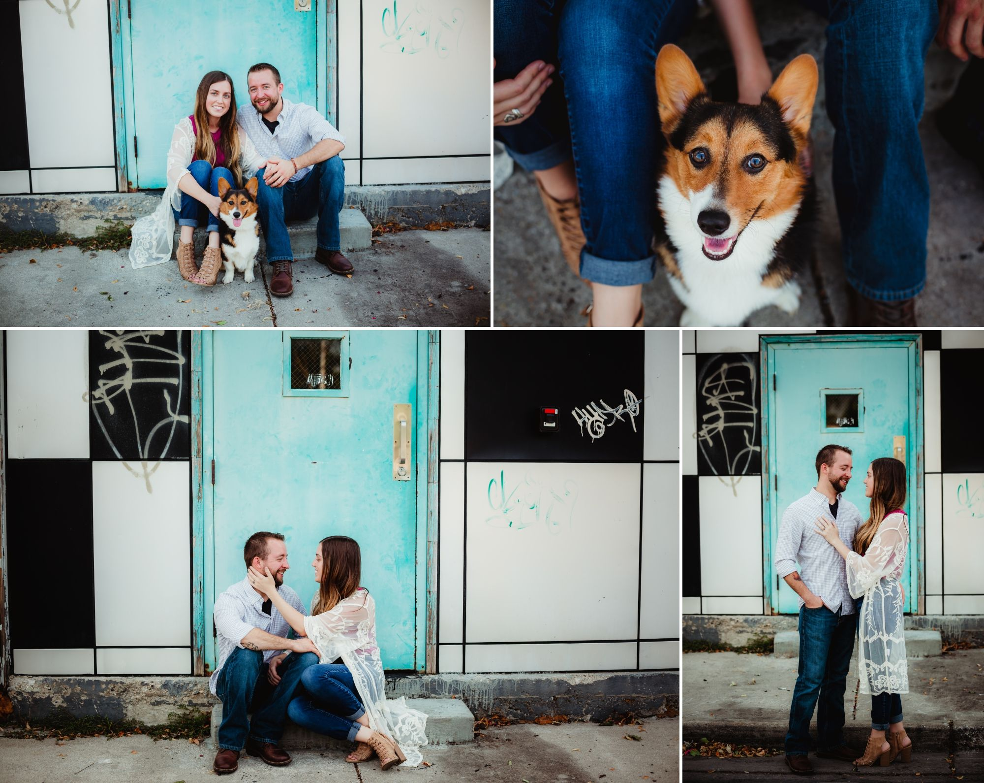 Man and woman engaged couple and their corgi in front of a light blue door.