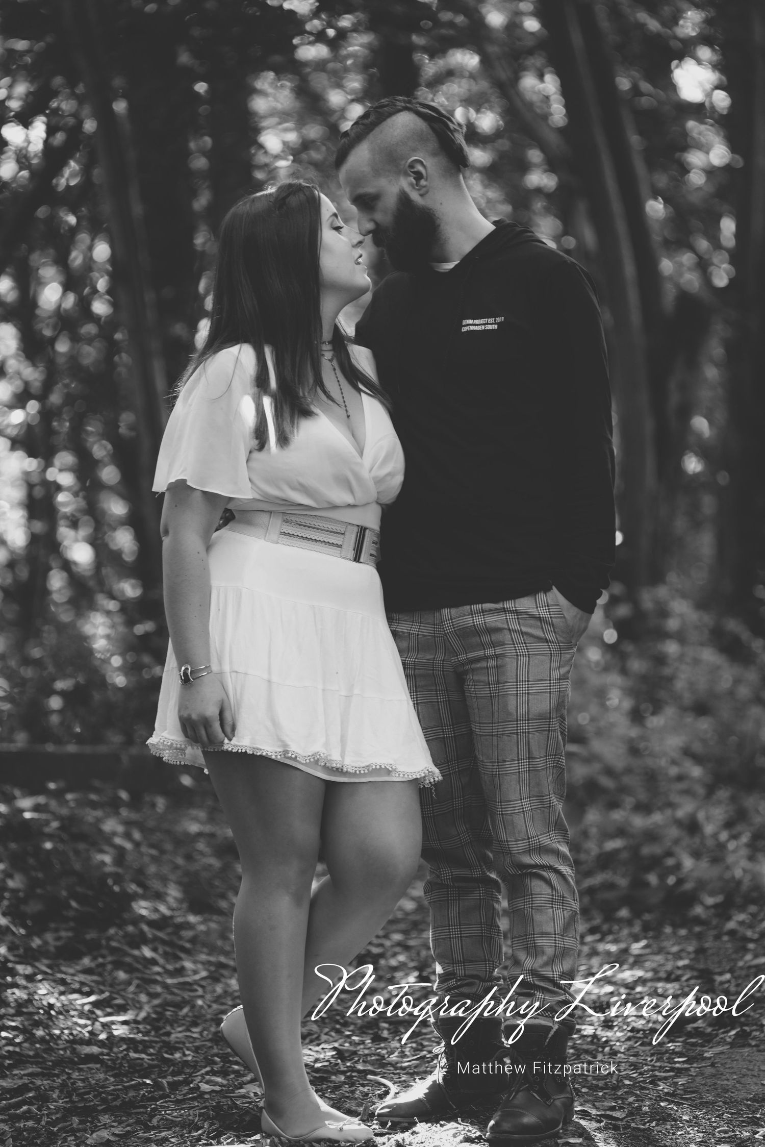 Black & White Naturally posed engagement photography at Liverpool Festival Gardens by Photography Liverpool