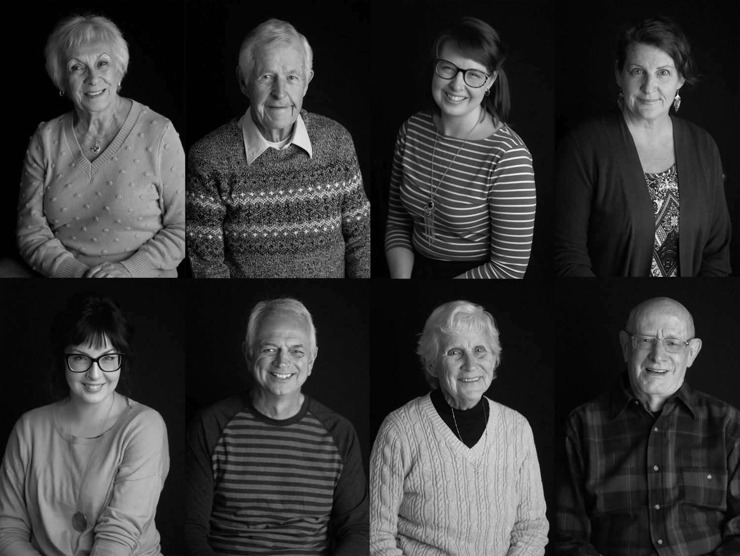 Black and white studio portraits of 8 different family members: children, parents and grandparents