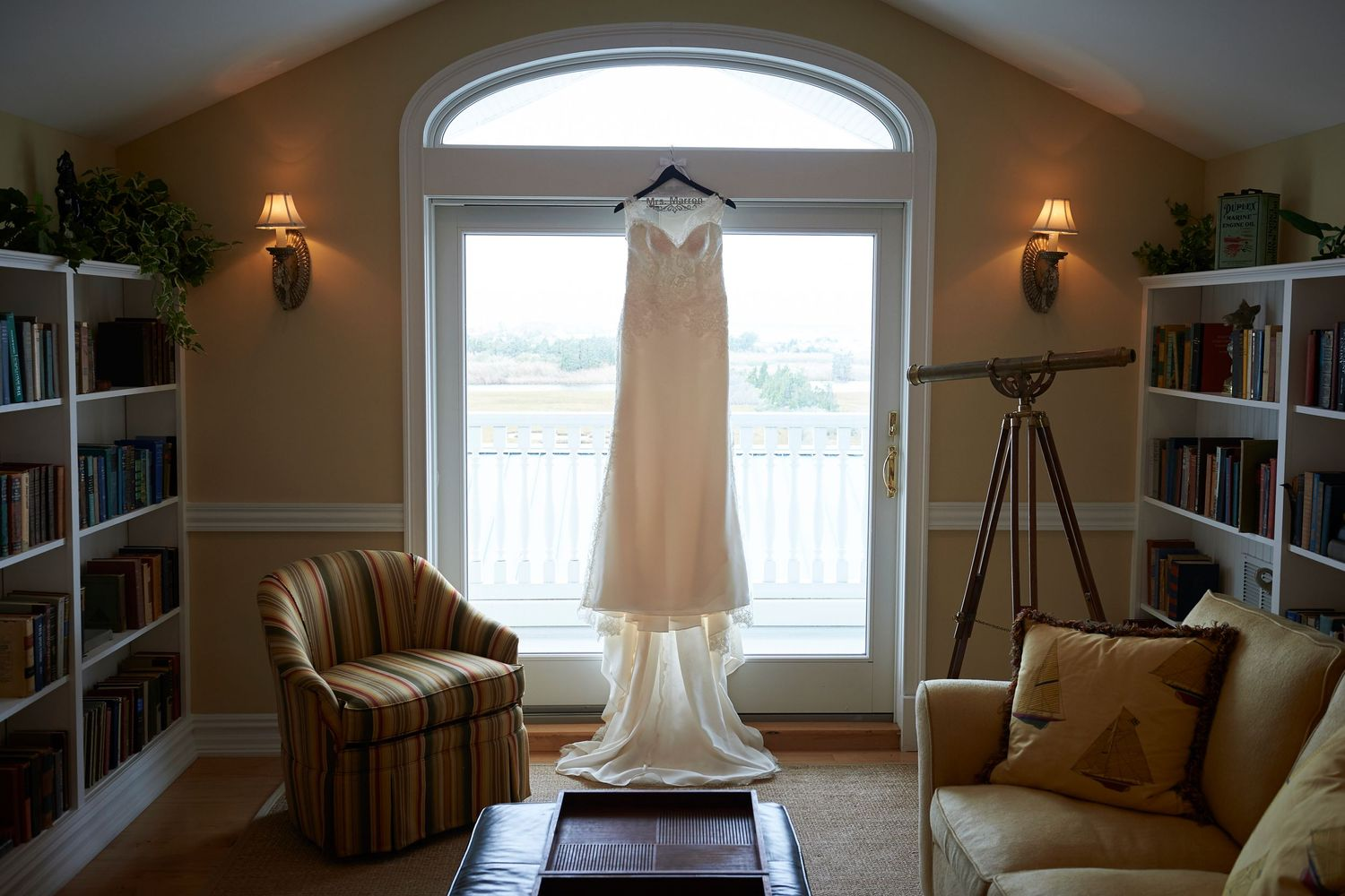 bride's dress at Bonnet Island Estate