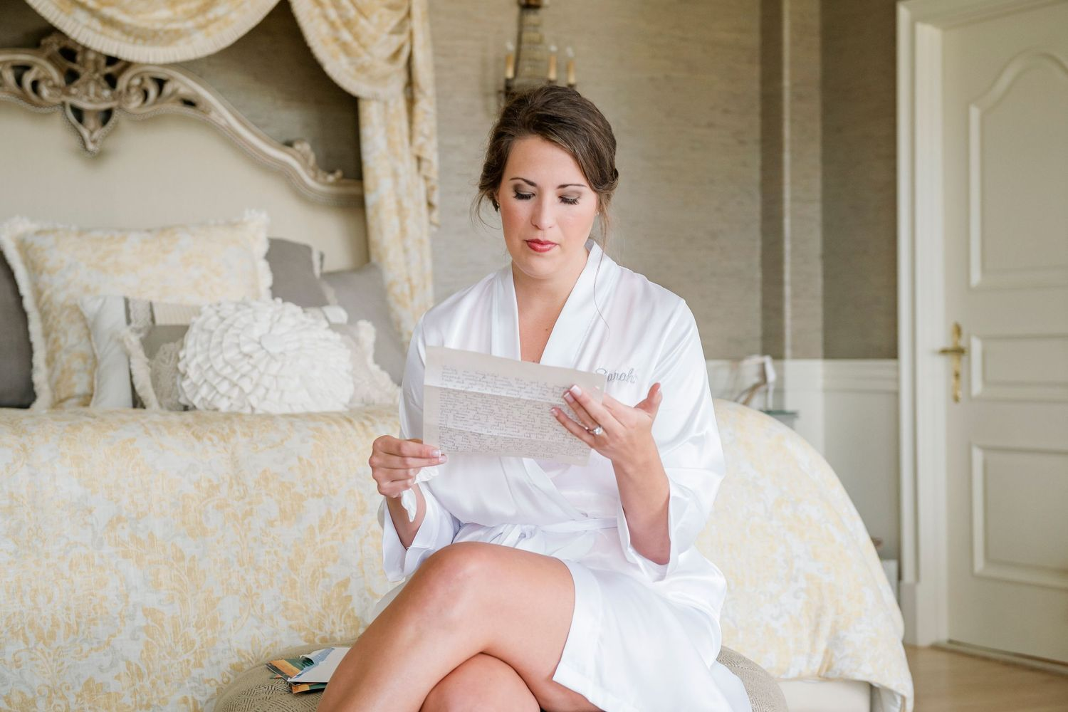 bride reads letter from groom at Bonnet Island Estate