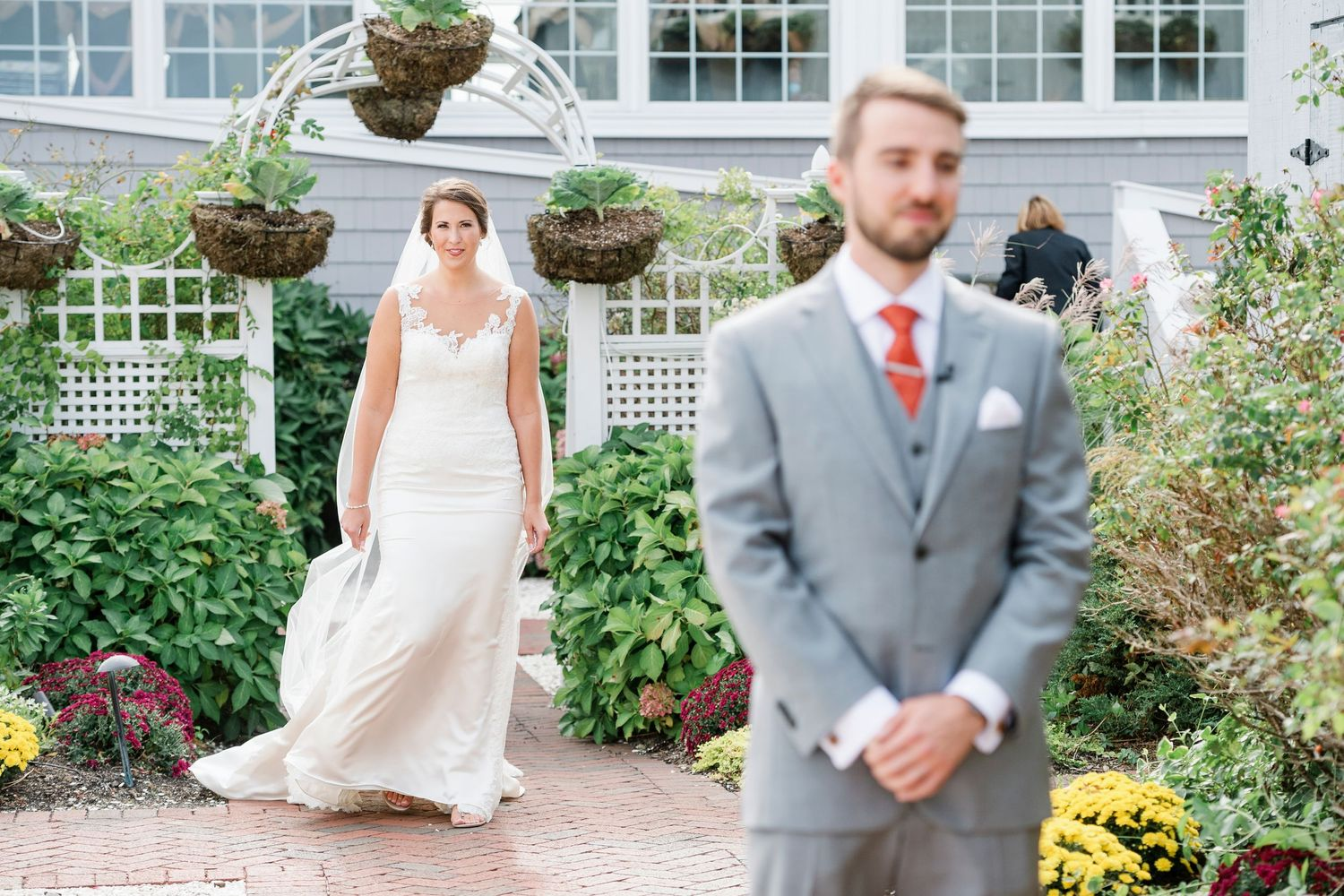 bride approaches groom during first look at Bonnet Island Estate
