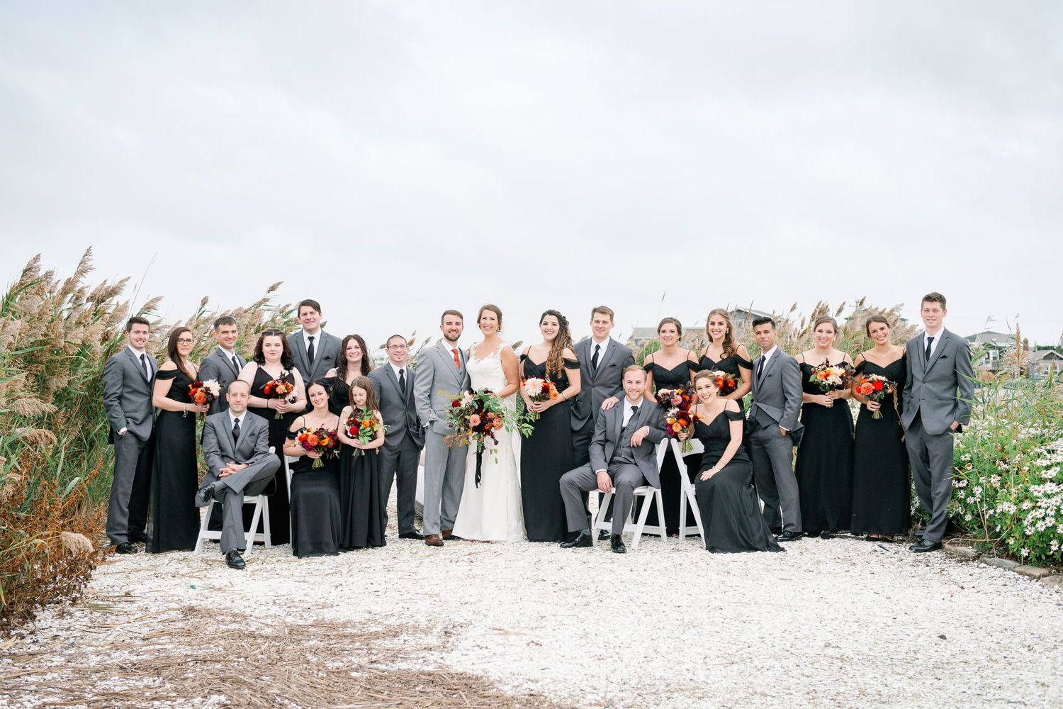 full bridal party portrait at Bonnet Island Estate