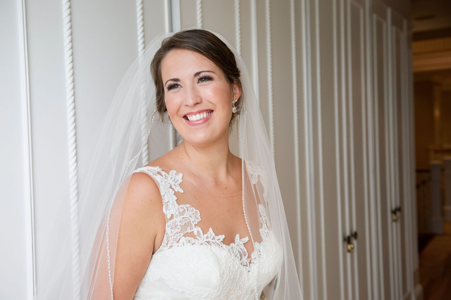 bride portrait smiling and looking off camera