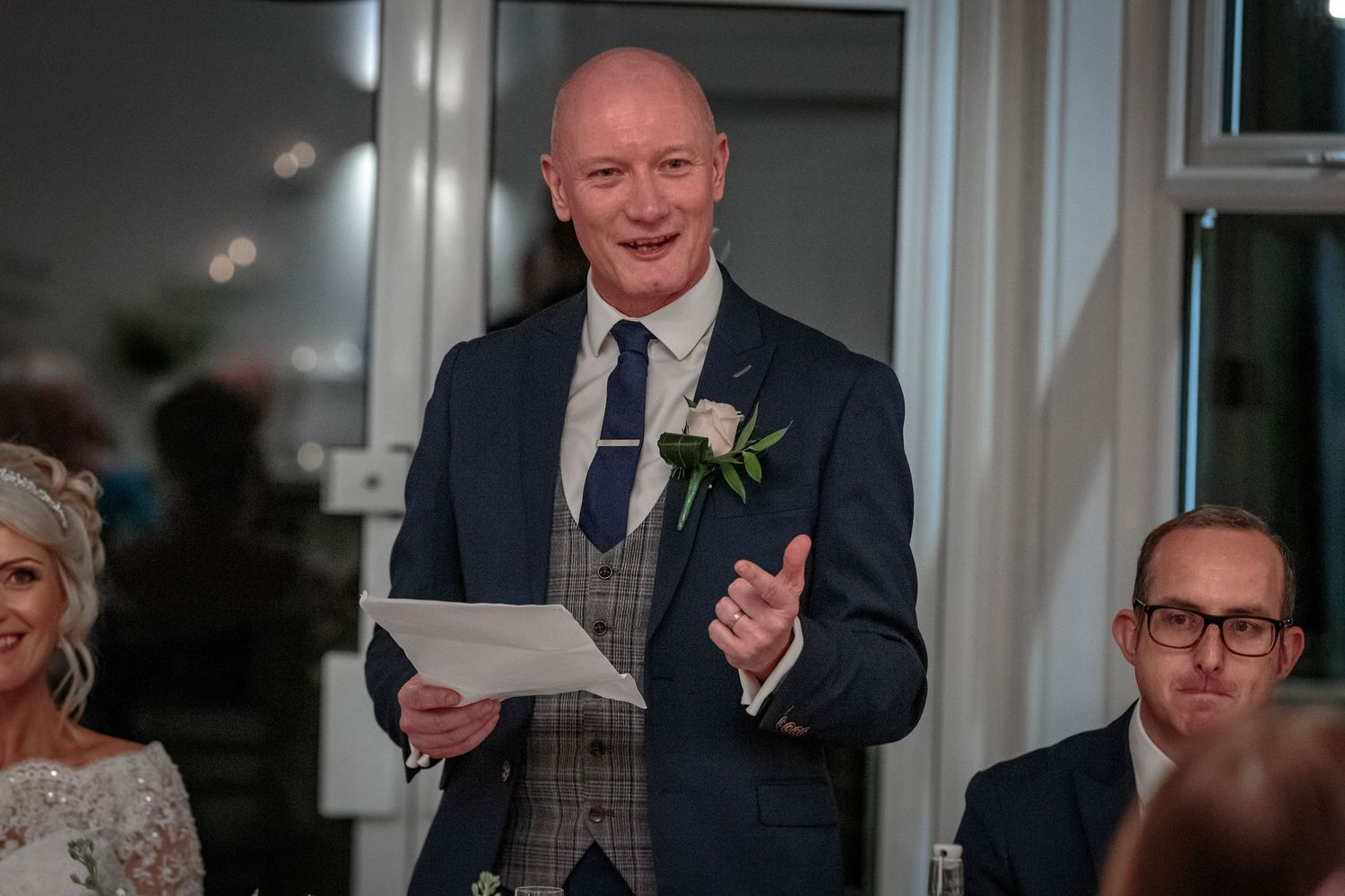 the groom in full flow during his wedding speech