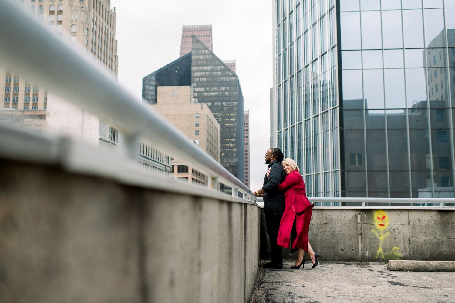 Downtown Houston Rooftop Engagement Photographer