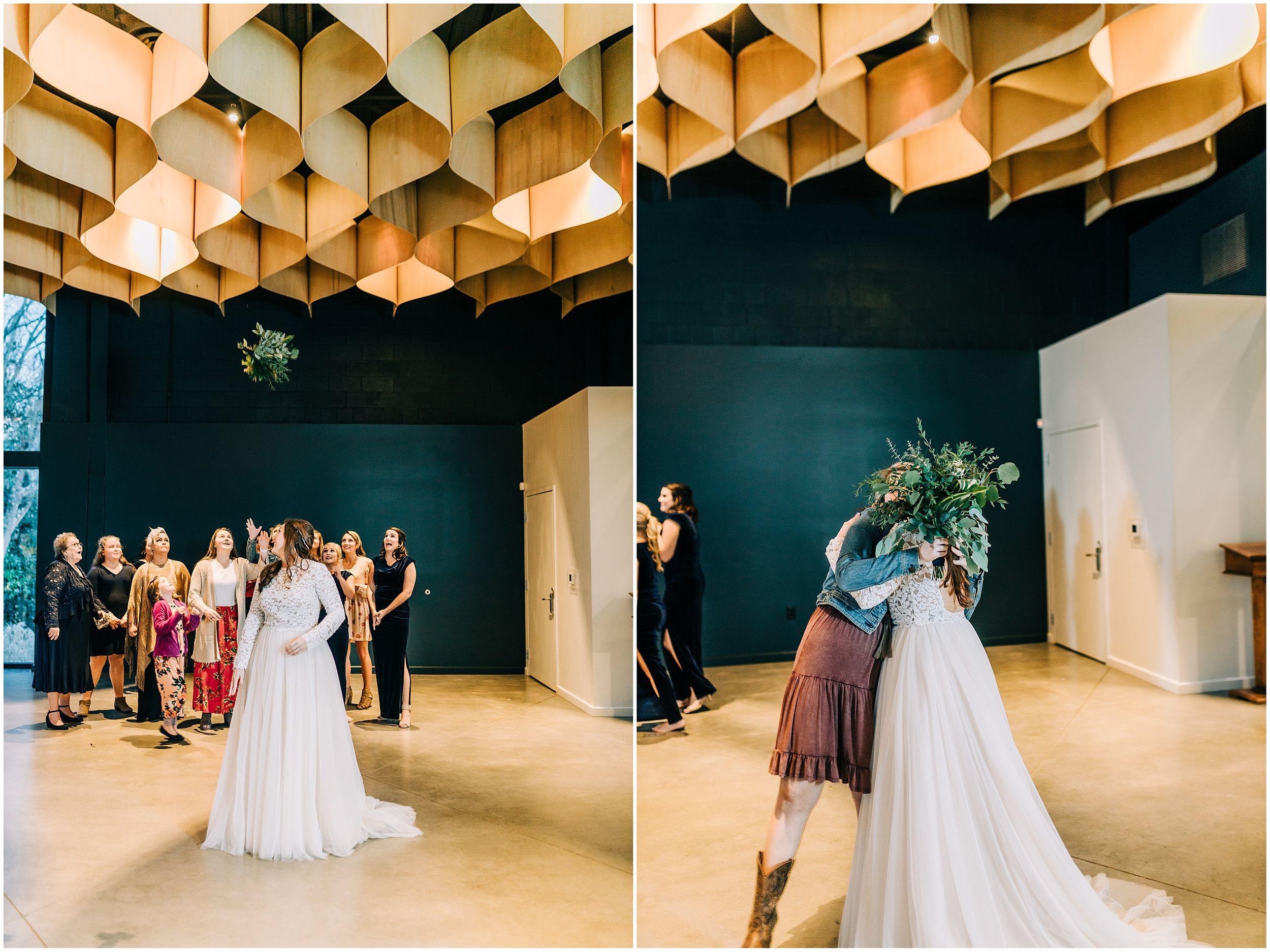 Bride throwing bouquet at Knoxville Tennessee Wedding