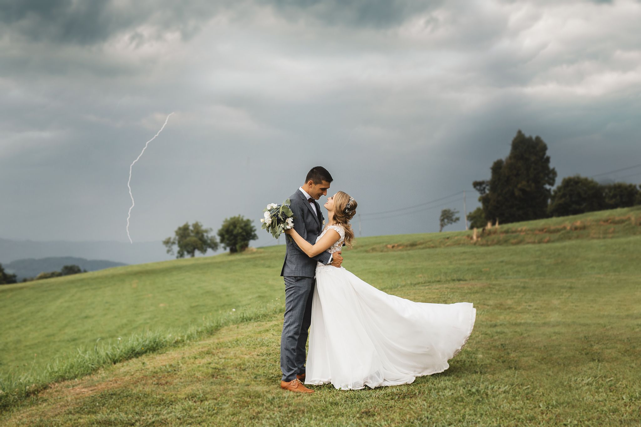 Stormy wedding with a lightning