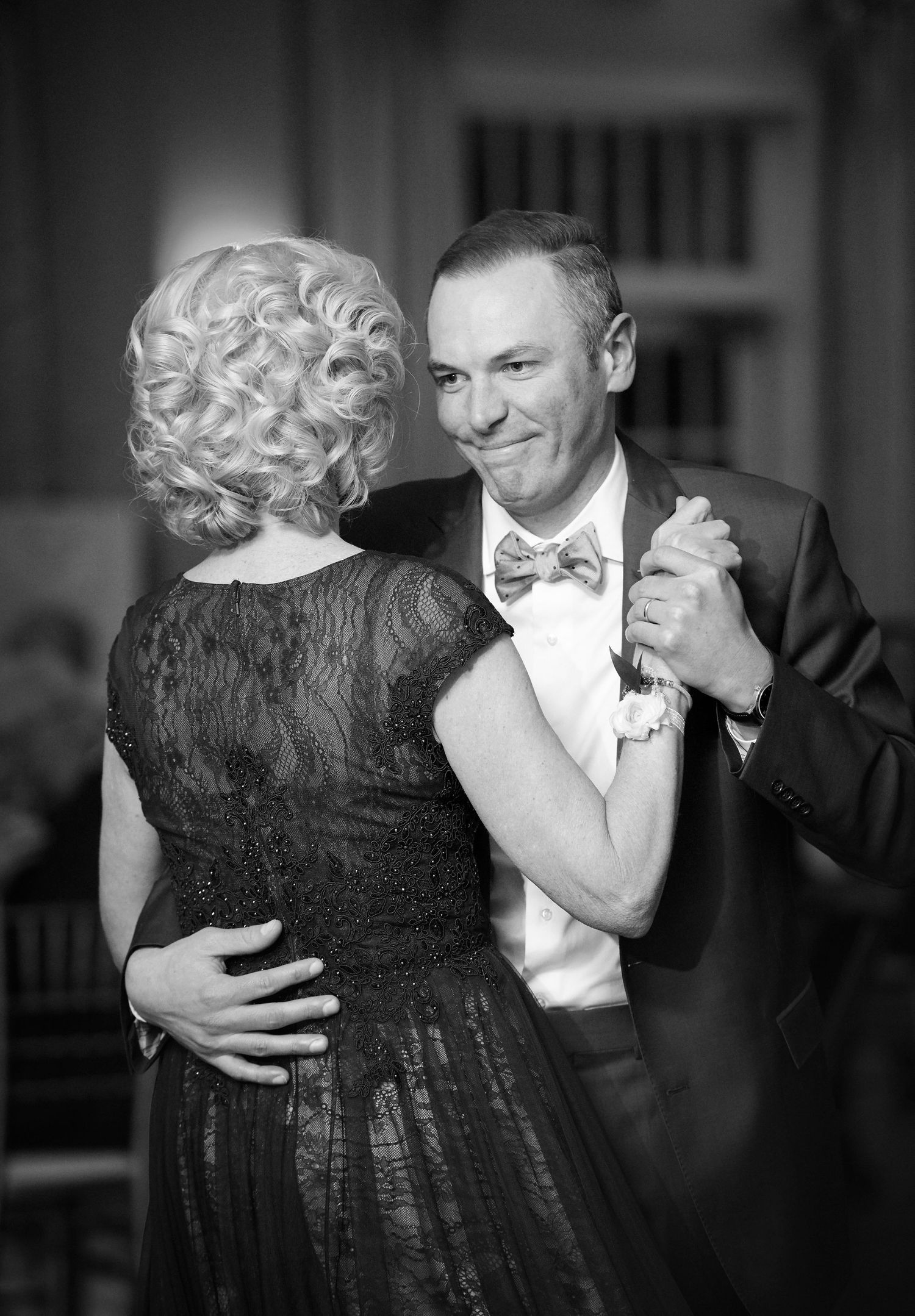 mother son dance during reception at Belle Voir Manor