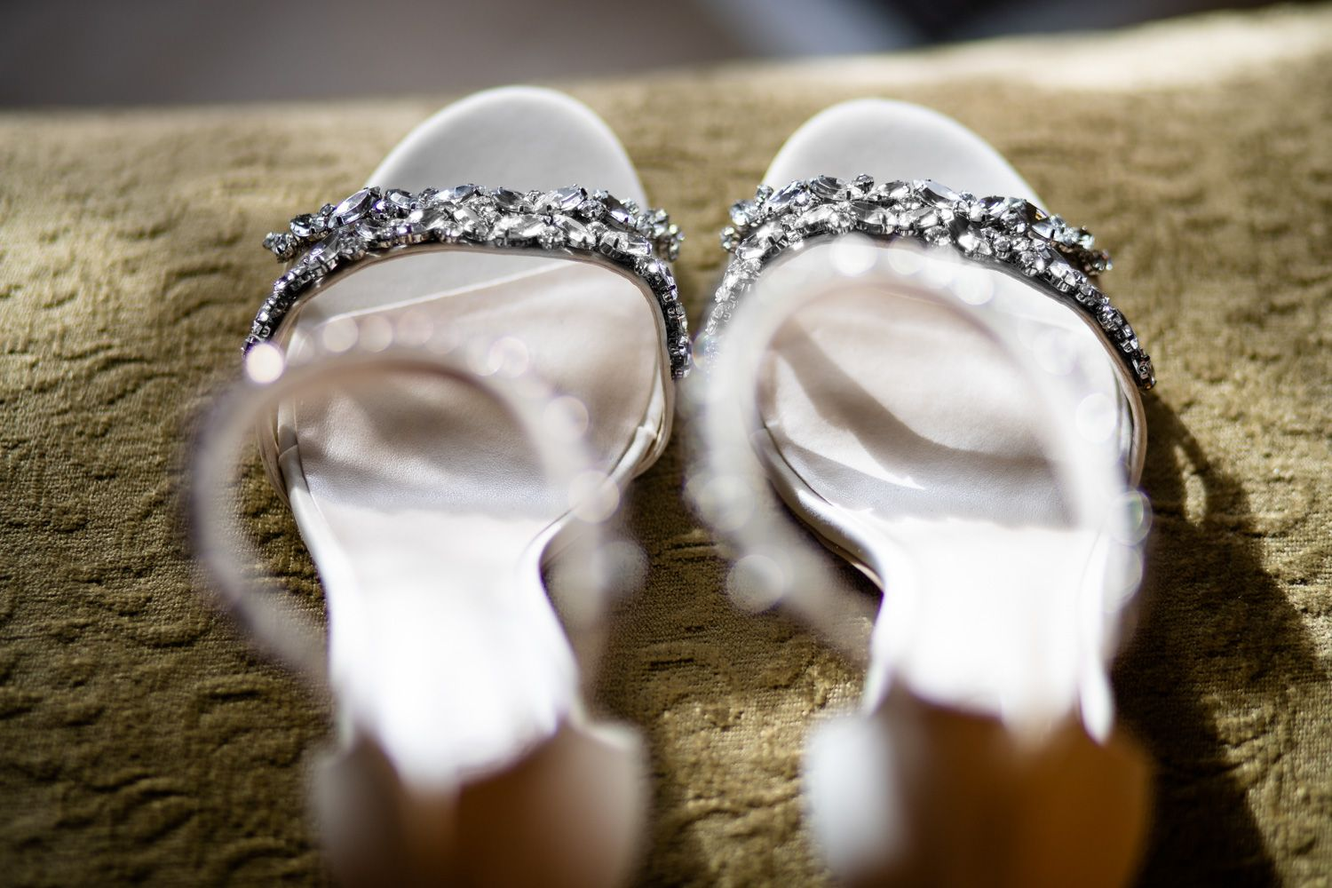 Bride's sandals with rhinestones, Connecticut wedding