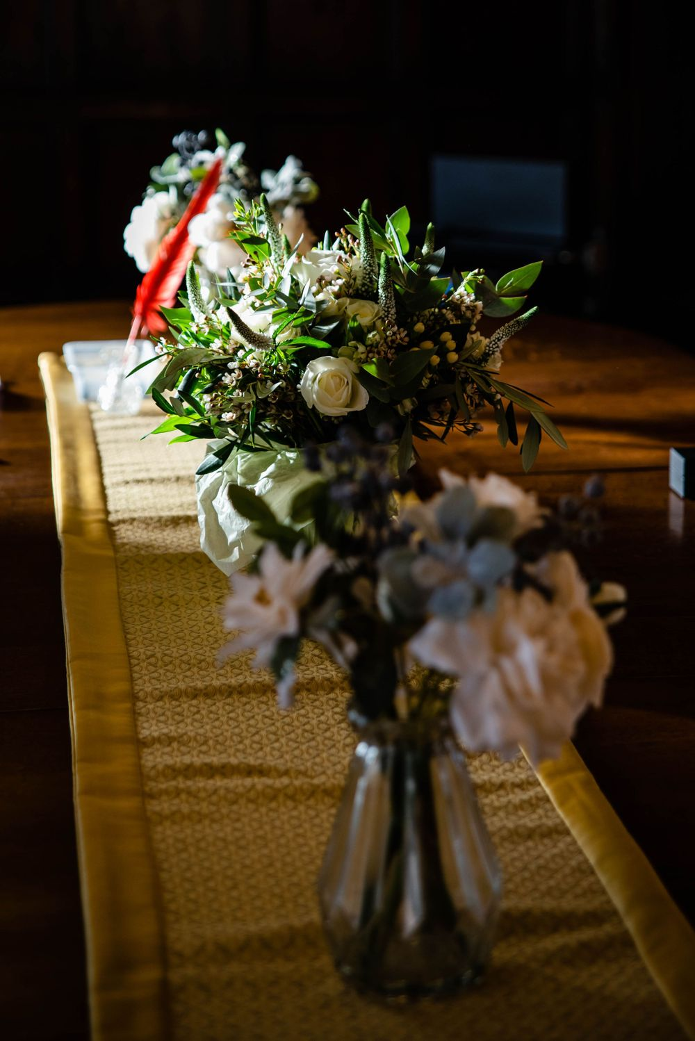 Cotswolds based Zara Davis Wedding Photography at Hereford Town Hall Herefordshire table flowers