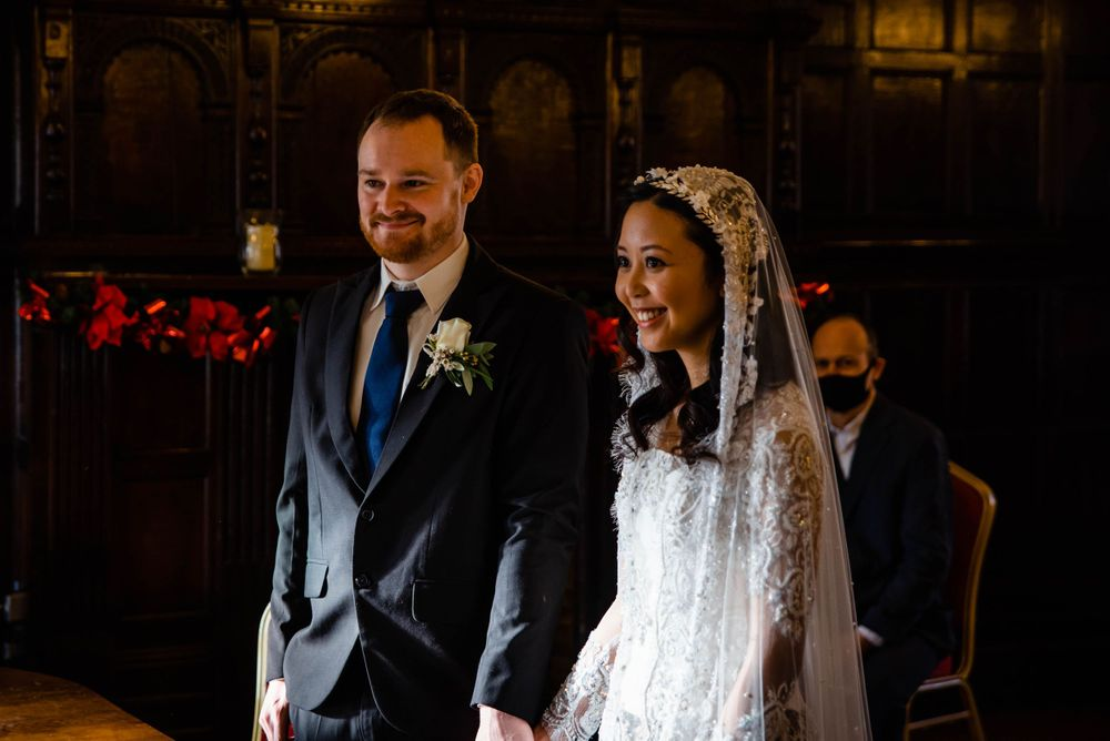 Cotswolds based Zara Davis Wedding Photography at Hereford Town Hall Herefordshire smiling together