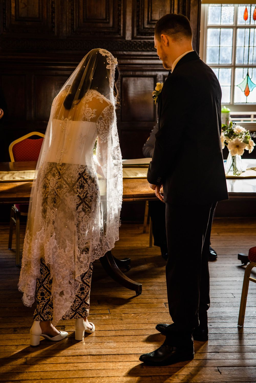 Cotswolds based Zara Davis Wedding Photography at Hereford Town Hall Herefordshire bride and groom at front