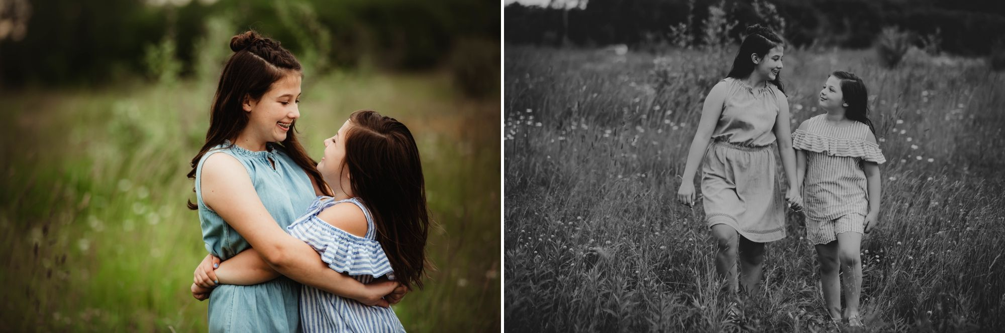 Photos of two brunette sisters hugging, smiling, and holding hands in a field.