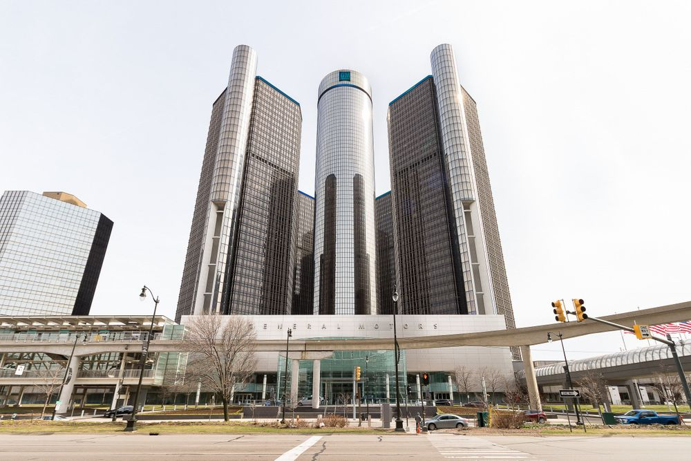 Perspective view of the Renaissance Center in Detroit.