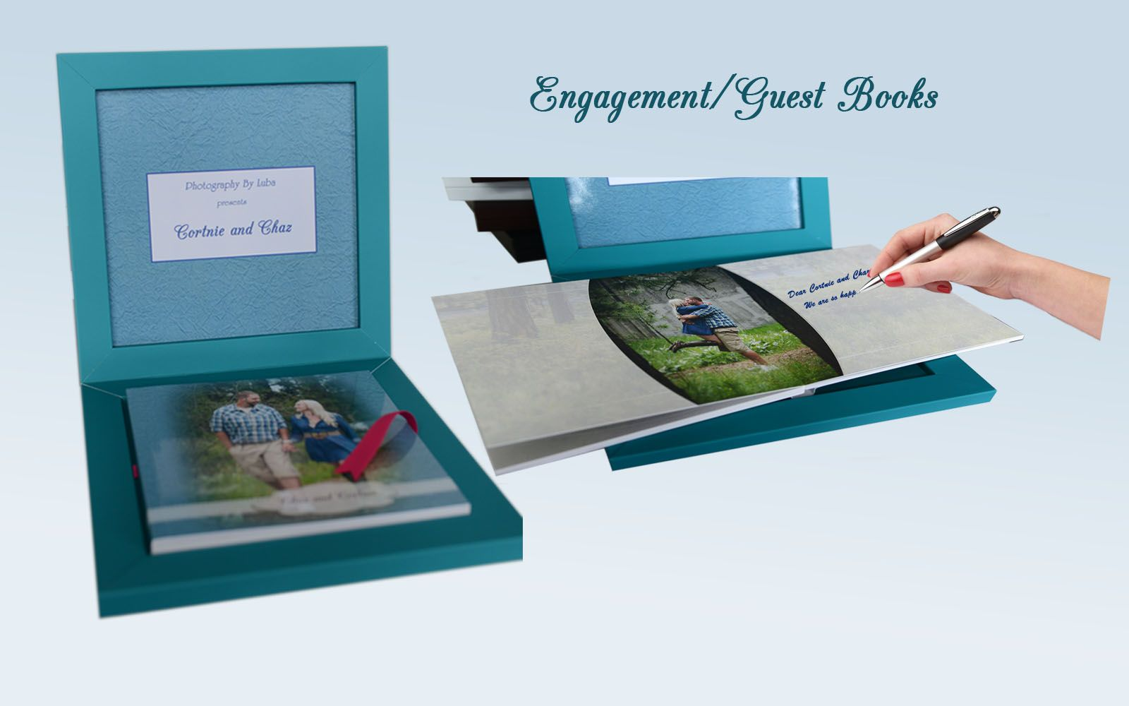 engagement guest book in a boz couple walking looking at each other on a cover photographer luba wold coeur d alene