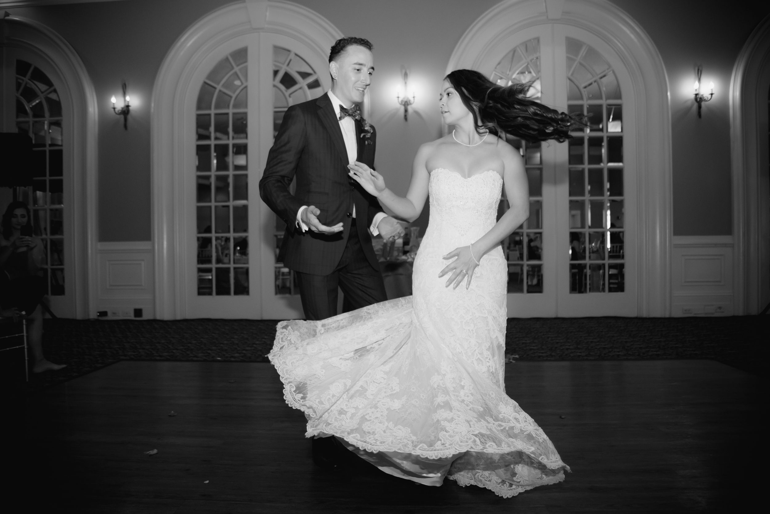 Sacramento photographer - Bride and groom dance at Sterling Hotel, Sacramento, Calif.