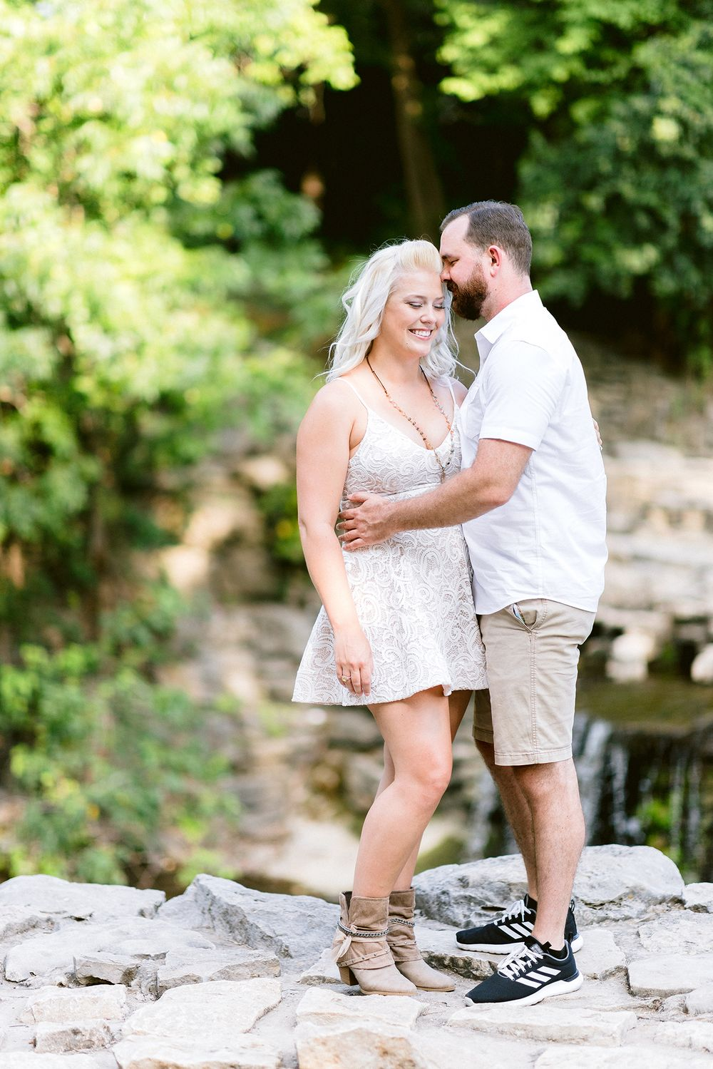 Elizabeth Couch Photography Prairie creek engagement photos waterfall romantic