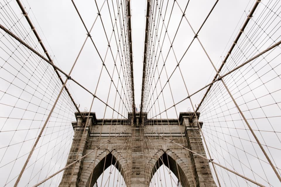 sky view of the Brooklyn City Bridge in New York City, adventure elopement photographer
