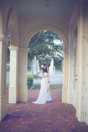 Gorgeous Maternity White Gown Portraits
