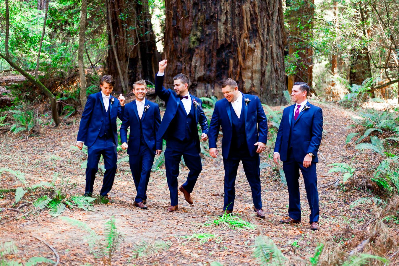 groomsmen and groom in navy suits walk through Hendy Woods State Park in Northern California Redwoods