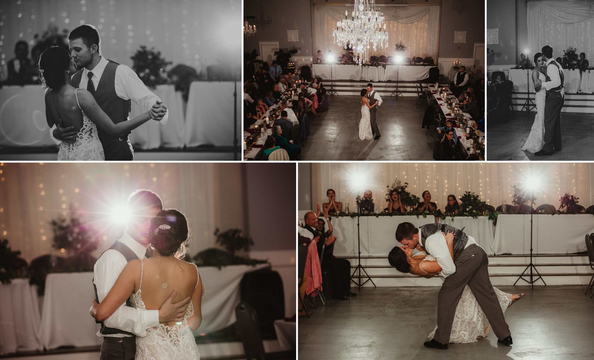 Collage of the bride and groom dancing. Off camera flash flaring behind them and a chandelier above.