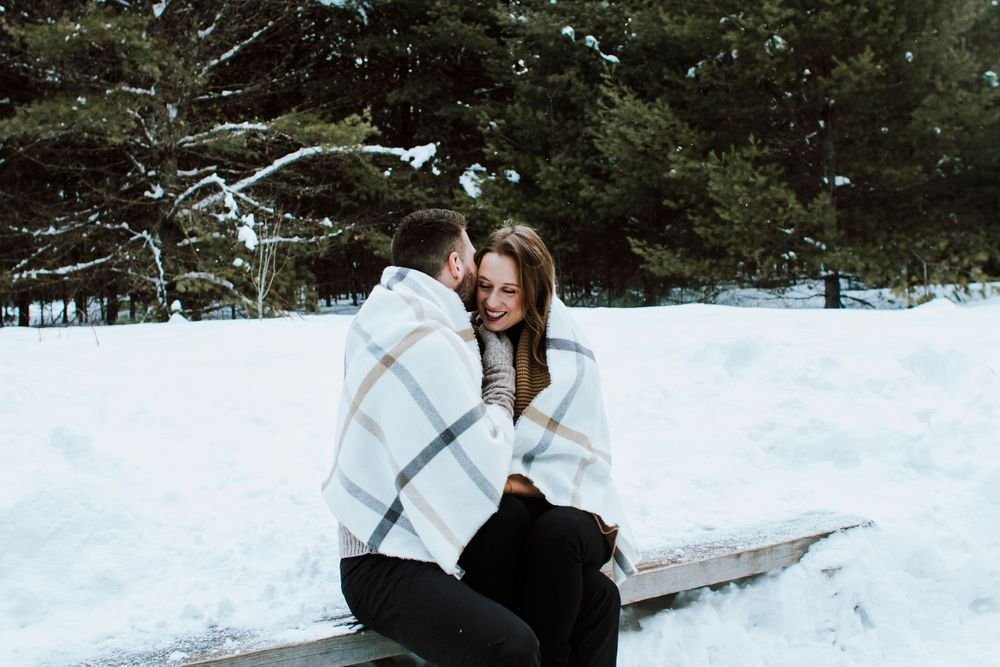 Wintery Skating Engagement Session